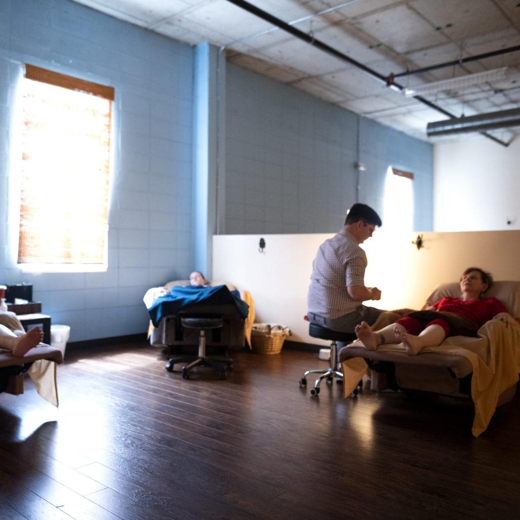 Trey treating three female patients